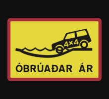 Unbridged River, Traffic Sign, Iceland Kids Tee