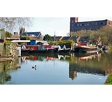 Canalside Moorings. Leigh NW England. Photographic Print