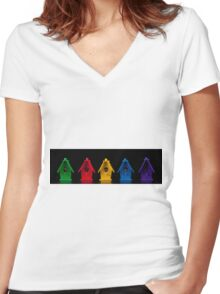 Miniature Bird Houses Panorama Women's Fitted V-Neck T-Shirt