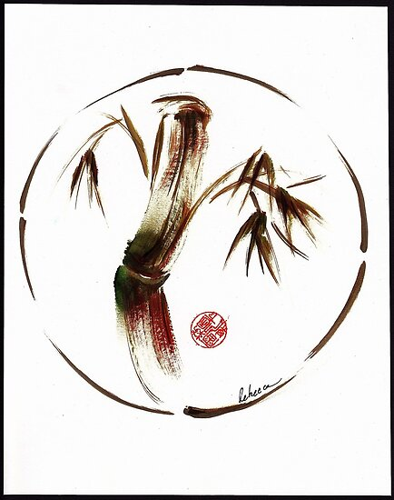 """eternity"" :  Enso sumi-e dry brush acrylic painting   by Rebecca Rees"