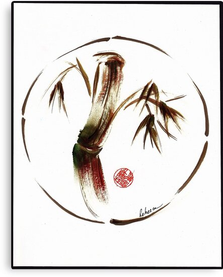 """""""eternity"""" :  Enso sumi-e dry brush acrylic painting   by Rebecca Rees"""
