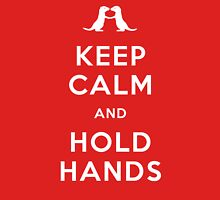 Keep Calm and Hold Hands (Otters holding hands) Womens Fitted T-Shirt