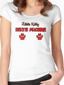 Little Kitty Death Machine Logo Women's Fitted Scoop T-Shirt