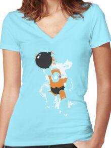 Bomb Man Explosive Splatter Design Women's Fitted V-Neck T-Shirt