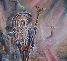 Gandalf (The colours of Saruman) Acrylic/Oil on textured canvas. by Joe Gilronan