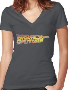 Barack to the Future Women's Fitted V-Neck T-Shirt