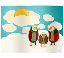 Owls in the sky Poster