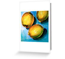 Lemons on Blue Canvas Greeting Card