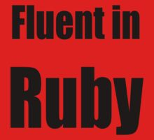 Fluent in Ruby - Black on Red for Ruby Programmers Kids Tee