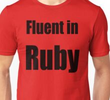 Fluent in Ruby - Black on Red for Ruby Programmers Unisex T-Shirt