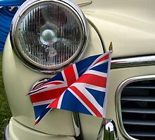 2 Morris Minor with flag by LooseImages