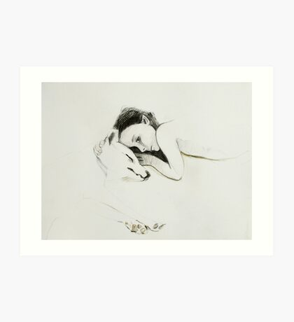 girl and pup 2 Art Print