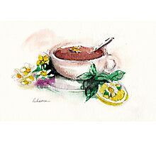 Afternoon Tea - watercolor painting  Photographic Print