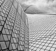 Sydney Opera House Close up Black and White by William Goschnick