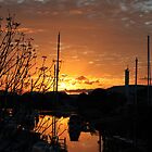 Sunrise on Townsville Boat Harbour by William Goschnick