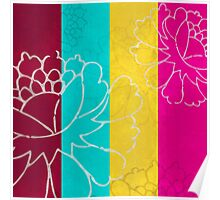 Chinese Flowers & Stripes - Pink Yellow Cyan Red Poster