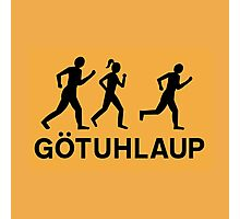 Organized Street Running, Traffic Sign, Iceland Photographic Print