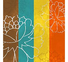 Chinese Flowers & Stripes - Orange Yellow Turquoise Brown Photographic Print