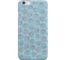 Chinese Flowers - Red on Blue iPhone Case/Skin
