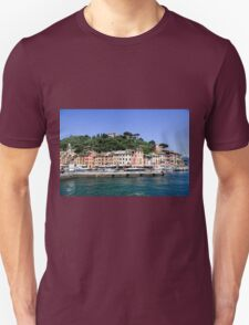 Pastel painted houses on the seafront at Portofino, Liguria, Italy T-Shirt