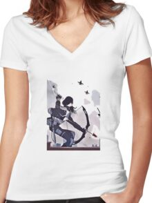katniss characters from mocking jay part 2 hunger games Women's Fitted V-Neck T-Shirt
