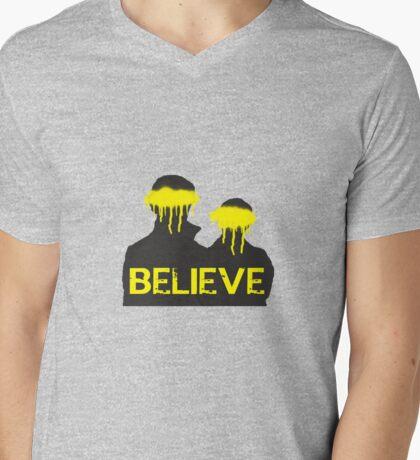 Believe. Mens V-Neck T-Shirt