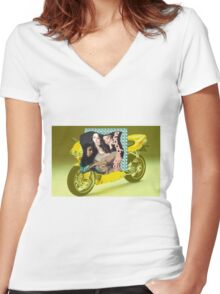 DUCATI DREAMS Women's Fitted V-Neck T-Shirt