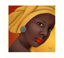 Woman with round earring Art Print