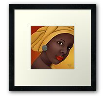 Woman with round earring Framed Print