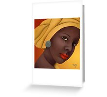 Woman with round earring Greeting Card