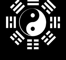 Yin Yang, I Ching, Martial Arts, WHITE on BLACK by TOM HILL - Designer