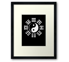 Yin Yang, I Ching, Martial Arts, Chinese, WHITE on BLACK Framed Print