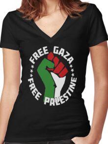free gaza free palestine Women's Fitted V-Neck T-Shirt