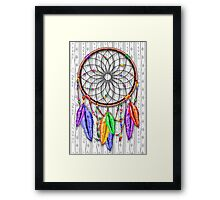 Dreamcatcher Rainbow Feathers Framed Print