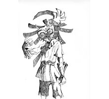 Pen and Ink Skull Kid Photographic Print