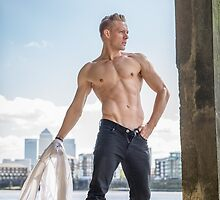 Muscle Beauty at Low Tide with Daniel, shirt in hand by GrahamMartin