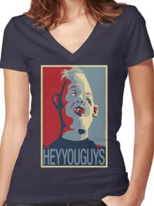 "Sloth from The Goonies - ""Hey You Guys"" Women's Fitted V-Neck T-Shirt"