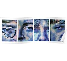 Beatles in Blue Collage Poster