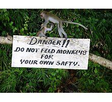 Danger Do Not Feed The Monkeys Photographic Print
