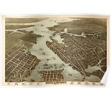 Panoramic Maps Norfolk Portsmouth Virginia 1873 Poster