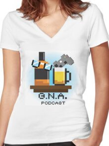 G.N.A. Podcast Women's Fitted V-Neck T-Shirt