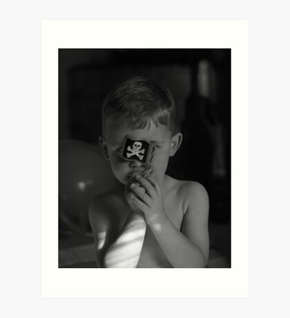Son with pirate flag black and white image  Art Print