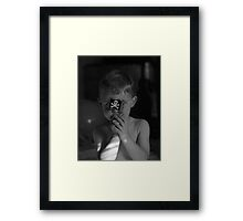 Son with pirate flag black and white image  Framed Print