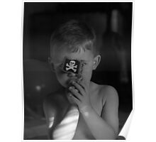 Son with pirate flag black and white image  Poster