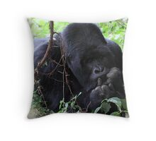 In a Pensive Mood: Mountain Gorilla Throw Pillow