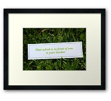 That which is in front of you is your teacher Framed Print