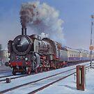 German loco in snow. by Mike Jeffries