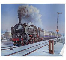 German loco in snow. Poster