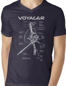Voyager Program - White Ink Mens V-Neck T-Shirt