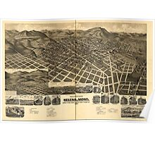 Panoramic Maps Perspective map of the city of Helena Montana Capital of State Poster